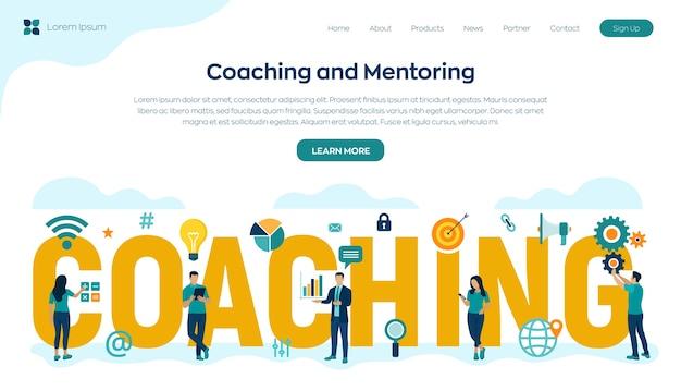 Concepto de coaching y mentoring. desarrollo personal. educación y e-learning. webinar, cursos de formación online. educación corporativa.