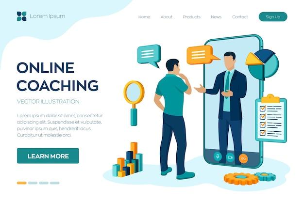 Concepto de coaching y mentoring. videollamada para entrenar a través de la aplicación en el smartphone. servicio de asesoramiento o consulta empresarial online.
