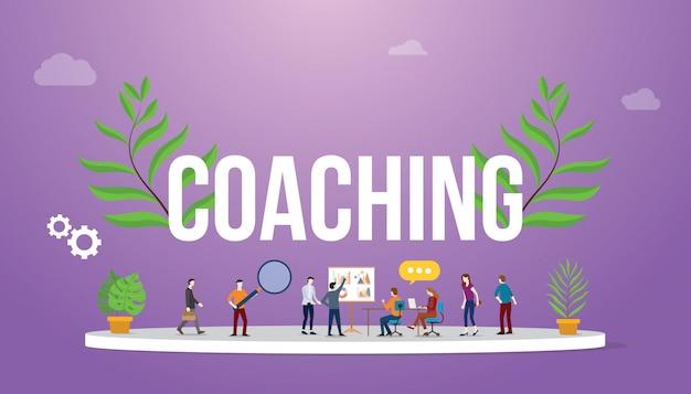 Concepto de coaching con personas techando y discutiendo para compartir.