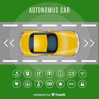 Concepto coche autonomo en diseño plano