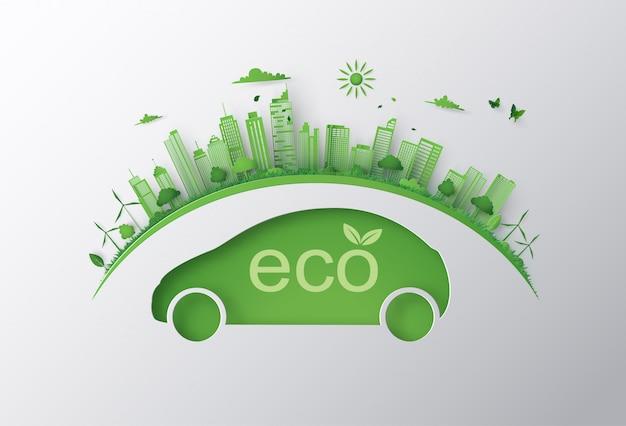 Concepto de coche ecológico y medio ambiente.