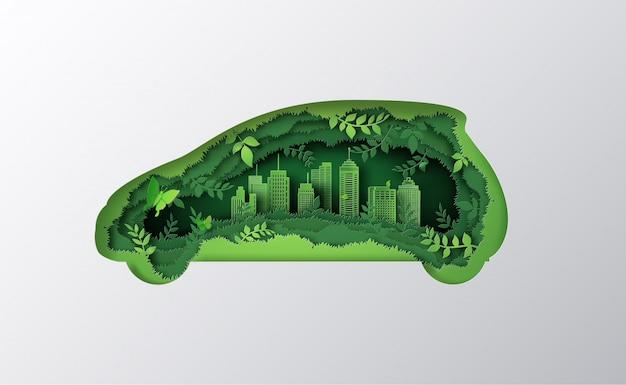Concepto de coche ecológico