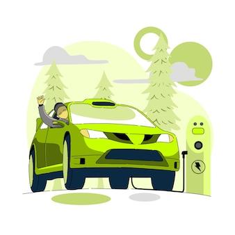 Concepto de coche eléctrico o verde