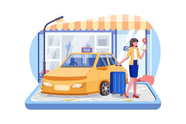 Concepto de coche de taxi de pedidos en línea