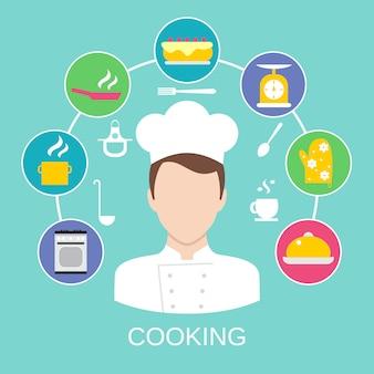 Concepto de cocina cartel impreso