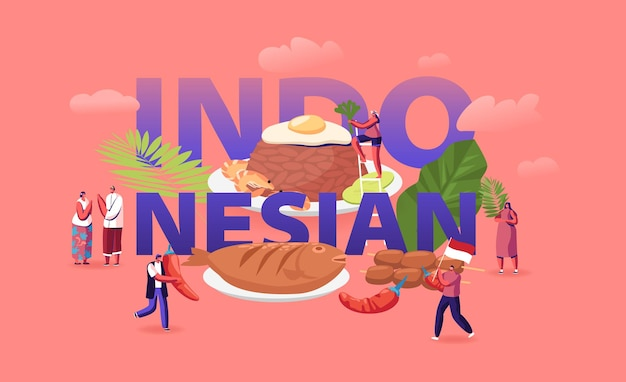 Concepto de cocina indonesia. ilustración plana de dibujos animados