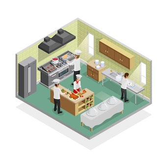 Concepto de cocina de restaurante