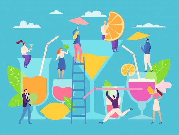 Concepto de cóctel, pequeñas personas hacen bebida de verano, ilustración. personaje de dibujos animados hombre mujer cerca de vidrio grande, jugo de fruta