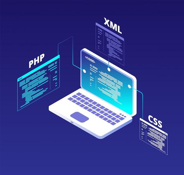 Concepto de codificación desarrollo de sitios web y programación de software de aplicaciones con laptop y pantallas virtuales. fondo de vector de código html5 y php