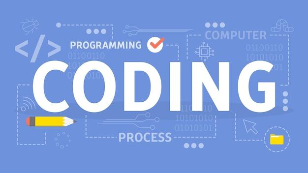 Concepto de codificación. idea de programación y computadora