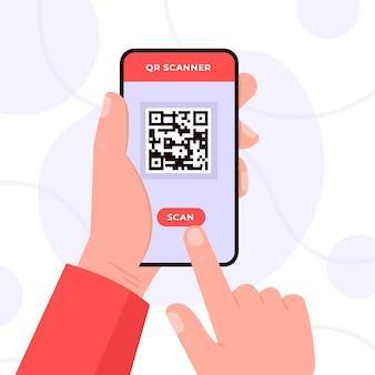 Concepto de código qr de escaneo de teléfonos inteligentes