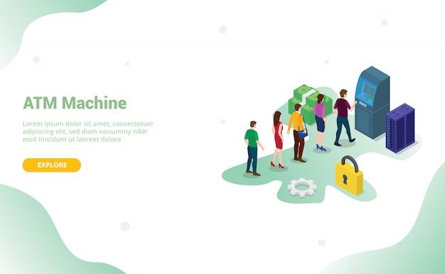 Concepto de cola de cajero automático con personas, hombres y mujeres haciendo cola con dinero en efectivo para plantilla de sitio web o página de inicio de aterrizaje con estilo plano moderno y isométrico 3d