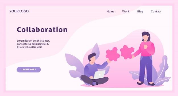 Concepto de colaboración con rompecabezas de emparejamiento de hombre y mujer como representación de trabajo en equipo