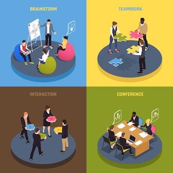Concepto de colaboración de trabajo en equipo 4 iconos isométricos con ideas de empleados que comparten acuerdos de conferencia lluvia de ideas compromiso interacción