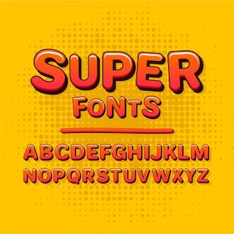 Concepto de colección de alfabeto cómico 3d