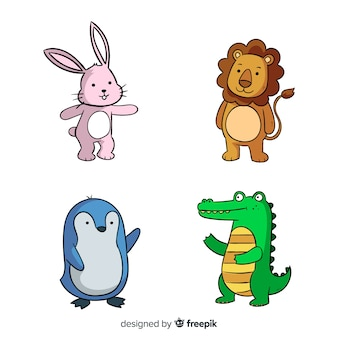 Concepto de colección de animales de dibujos animados