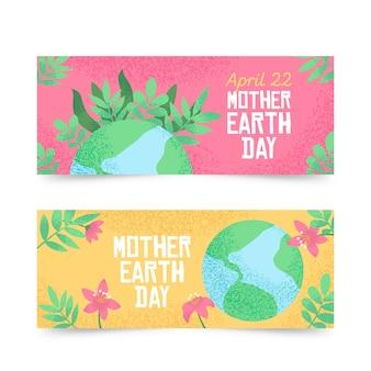 Concepto de colección de banner del día de la madre tierra dibujado a mano