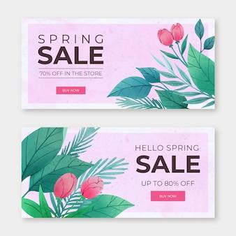 Concepto de colección de banner de venta de primavera acuarela