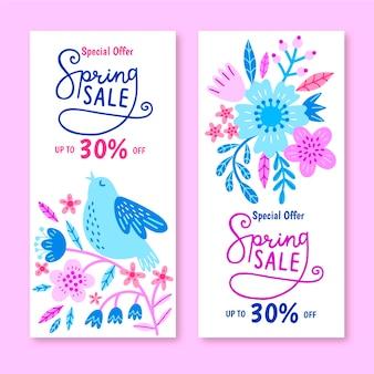 Concepto de colección de banner de venta de primavera dibujado a mano