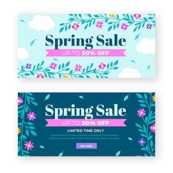 Concepto de colección de banner de venta de primavera de diseño plano