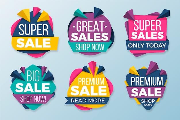 Concepto de colección de banners de ventas coloridas