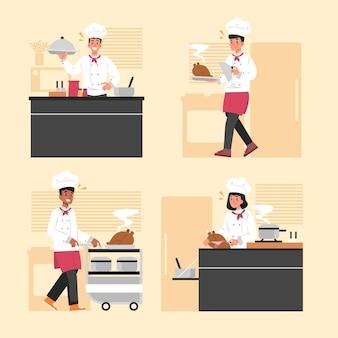Concepto de colección de cocinero