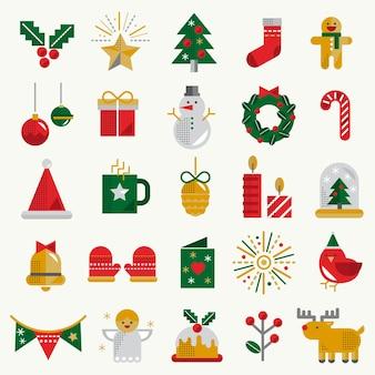 Concepto de colección de conjunto de iconos de navidad