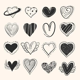 Concepto de colección de corazón dibujado