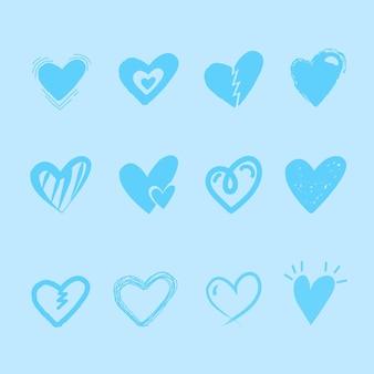 Concepto de colección de corazones dibujados a mano