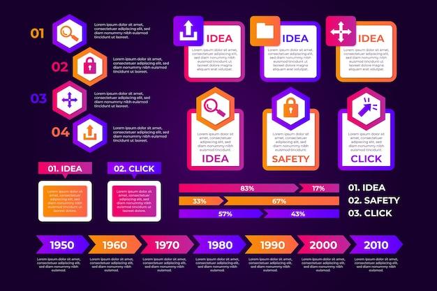 Concepto de colección de elementos de infografía