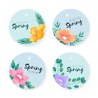Concepto de colección de etiquetas de acuarela primavera