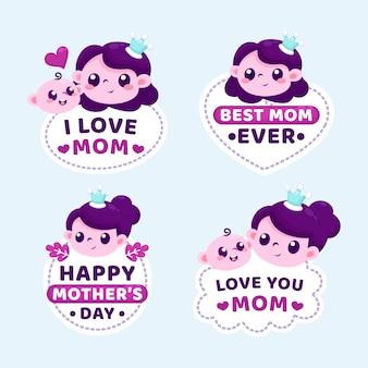 Concepto de colección de etiquetas del día de las madres