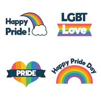 Concepto de colección de etiquetas del día del orgullo