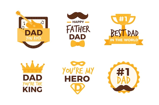 Concepto de colección de etiquetas del día del padre