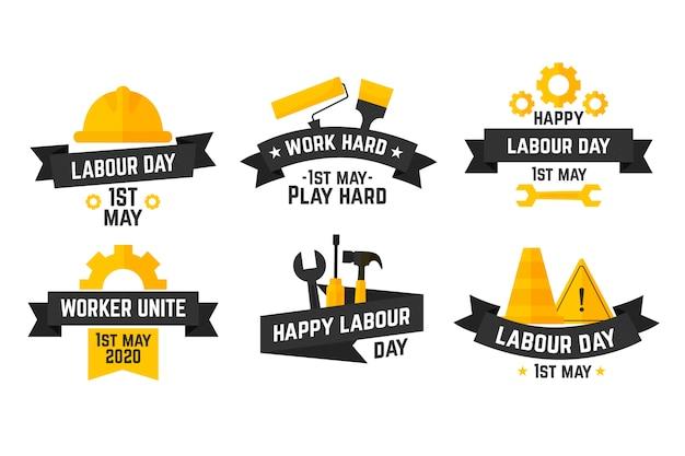 Concepto de colección de etiquetas del día del trabajo