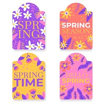 Concepto de colección de etiquetas de primavera de diseño plano