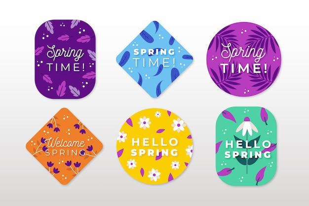 Concepto de colección de etiquetas de primavera