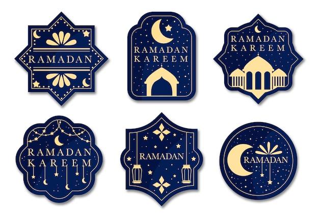 Concepto de colección de etiquetas de ramadán de diseño plano