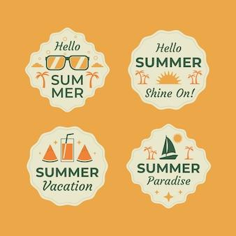 Concepto de colección de etiquetas de verano