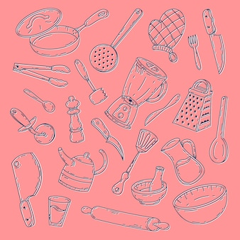 Concepto de colección de herramientas de alimentos dibujados a mano