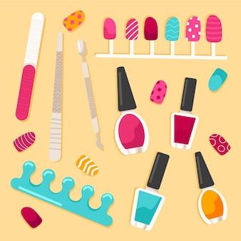 Concepto de colección de herramientas de manicura