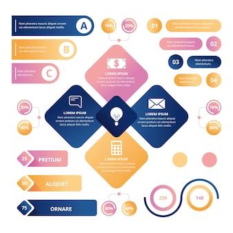 Concepto de colección de infografía brillante 3d