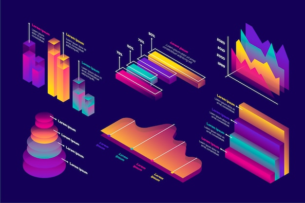 Concepto de colección de infografía isométrica.