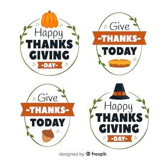Concepto de colección de insignias del día de acción de gracias