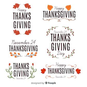 Concepto para la colección de insignias del día de acción de gracias