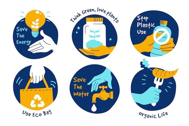 Concepto de colección de insignias ecología dibujadas a mano