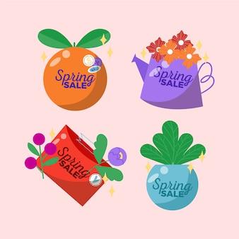 Concepto de colección de insignias de primavera dibujadas a mano