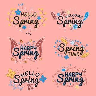 Concepto de colección de insignias de primavera de diseño plano