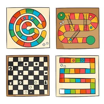 Concepto de colección de juegos de mesa