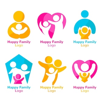 Concepto de colección de logo familiar